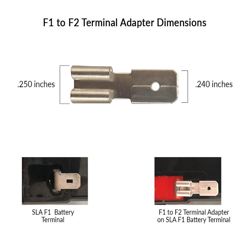 f1 to f2 terminal adapter, sealed lead acid terminal adapters, sla
