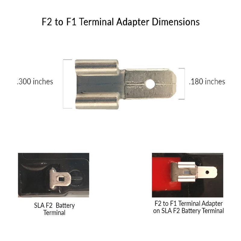 f2 to f1 terminal adapter, sealed lead acid terminal adapter, f2 to f1