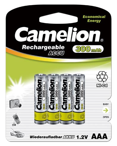 AAA rechargeable, AAA rechargeable Batteries, 300mAh, AAA 4 pack rechargeable
