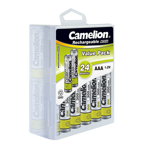 camelion AAA rechargeable, Ni-cd, nickel metal cadmium, rechargeable, AAA rechargeable 300mAh, AAA rechargeable 24 pack