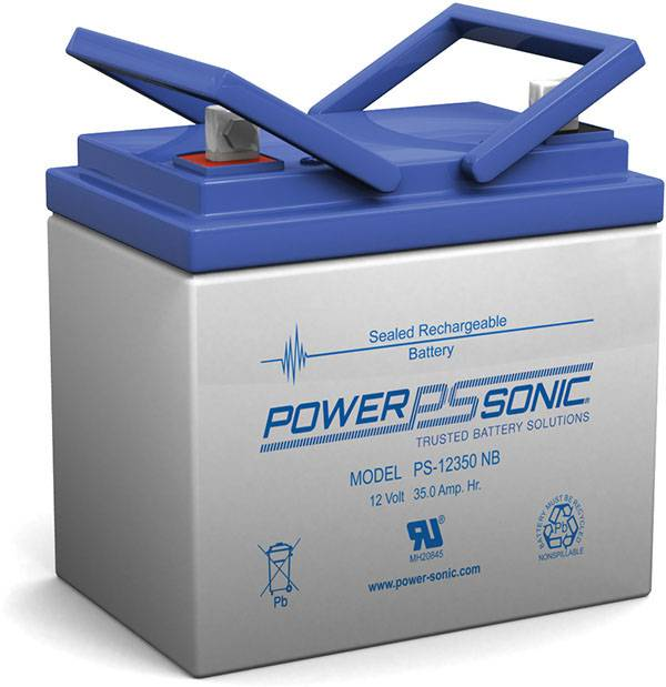 power sonic, powersonic, sla, sealed lead acid, PS-12350 12V 35Ah, nut and bolt terminal