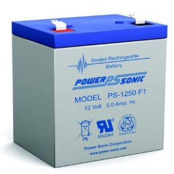 powersonic, power sonic, sla, sealed lead acid, PS-1250, 12V 5Ah, F1 terminal