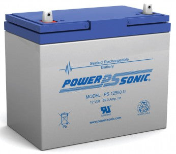 powersonic, power sonic, sla, sealed lead acid, PS-12550, 12V 55Ah, universal terminal