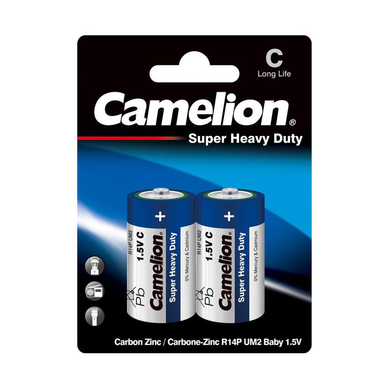 camelion c super heavy duty 2 pack batteries, c batteries, c super heavy duty