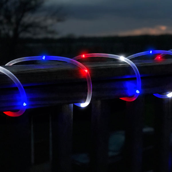 50 LED lights, solar lights, rope lights, red white and blue lights, patriotic, 4th of july, independence day