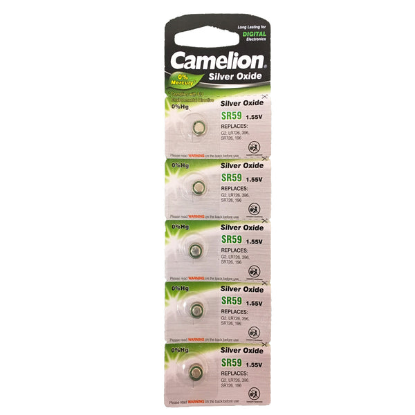 Camelion Silver Oxide SR59 / AG2 / 396 / SR726 1.55V Button Battery 5pk