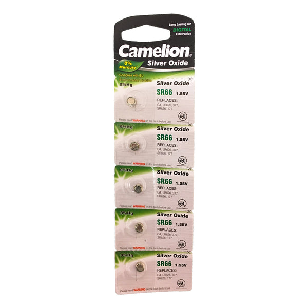 Camelion Silver Oxide SR66 / AG4 / 377 / SR626 1.55V Button Battery 5pk