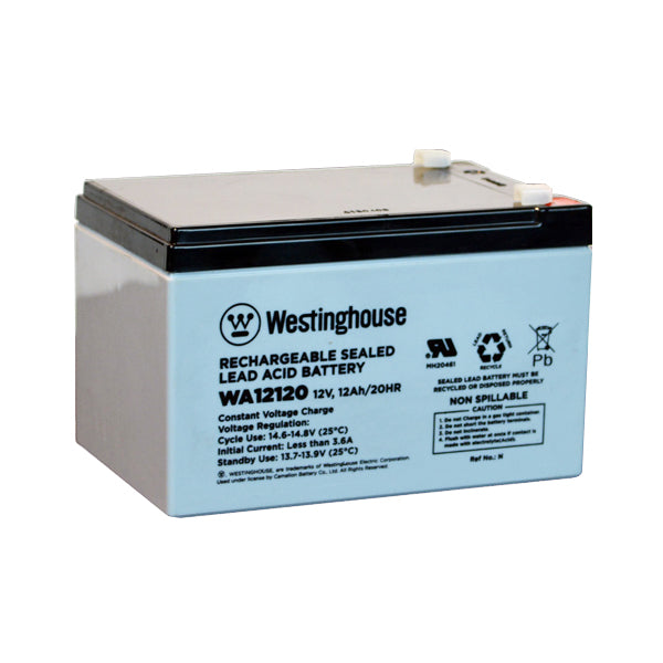 westinghouse, WA12120, 12V 12Ah, F1 terminal, sla, sealed lead acid