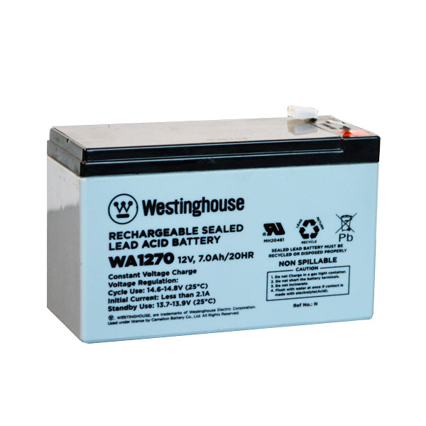 westinghouse, WA1270, 12V 7Ah, F1 terminal, sla, sealed lead acid