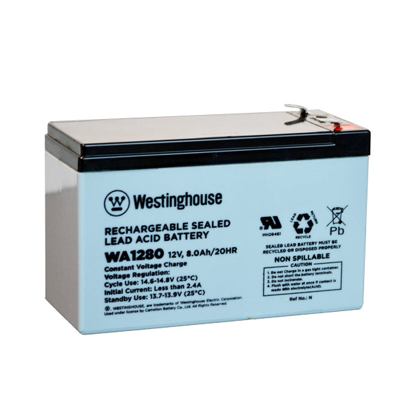 westinghouse, WA1280, 12V 8Ah, F1 terminal, sla, sealed lead acid