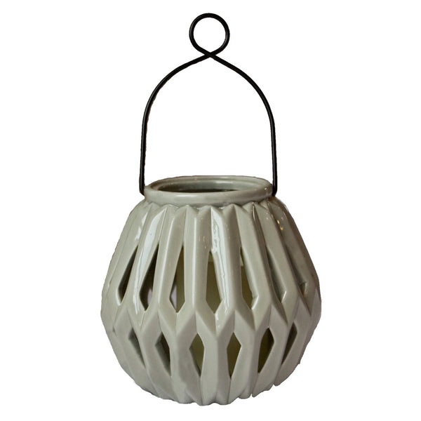 lantern, ceramic lanter, diamante, graphite, indoor, outdoor, flameless candle holder, candle holder, decor, home decor, decorations