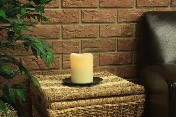 flameless 3 x 4 melted top candle, wax candle, pillar candle, battery powered candle, battery candle, home decor