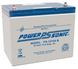 powersonic, power sonic, sla, sealed lead acid, PS-12750, 12V 75Ah, internally threaded