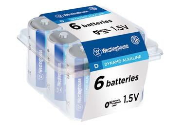westinghouse, D, batteries, alkaline batteris
