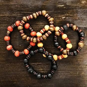 Balinese Wooden Bead Bracelet - 5pk ( Color Assorted )