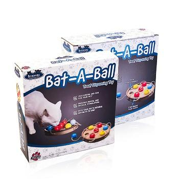 brainiac, bat-a-ball, cat toy, interactive pet toy, toys for cats, cat play toy, cat treat dispenser