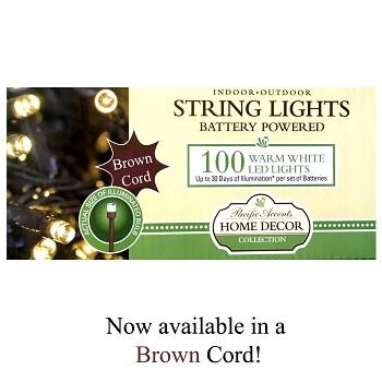 Battery Operated Warm White 100 LED String Lights With Brown Cord