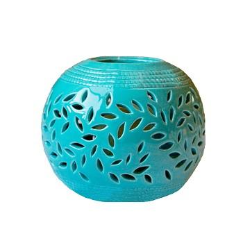 lantern, ceramic lantern, turquoise, magnolia, candle holder, battery candle, battery powered candle, flameless candle, decor, indoor decor, outdoor decor, home decor, garden decor