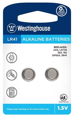 westinghouse, AG3, 392, LR41, button cell battery