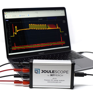 Joulescope with MacBook, oscilloscope view