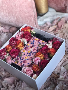 Chocolate with dried flowers