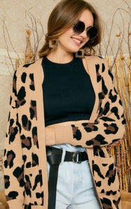 Oversized Animal Print Cardigan