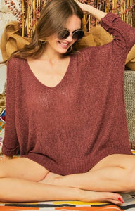 Dolman Sleeve Casual Sweater Brick