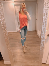 Load image into Gallery viewer, Woven Oversized Dolman Top Coral