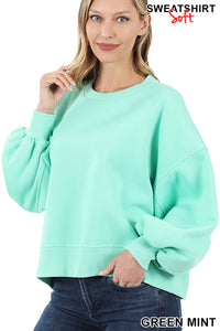 Balloon Sleeve Sweater Green Mint