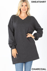 Long V-Neck Sweatshirt Charcoal