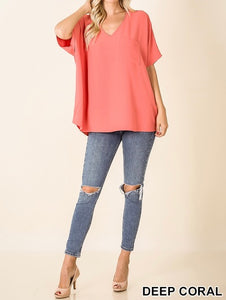 Woven Oversized Dolman Top Coral