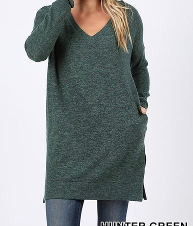 Hunter Green Tunic with Pockets