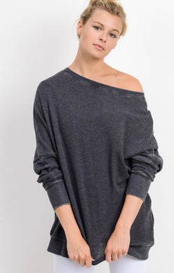 Light Slouchy Pullover Charcoal