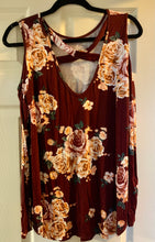 Load image into Gallery viewer, Floral Cut Out Shoulder Top Burgundy