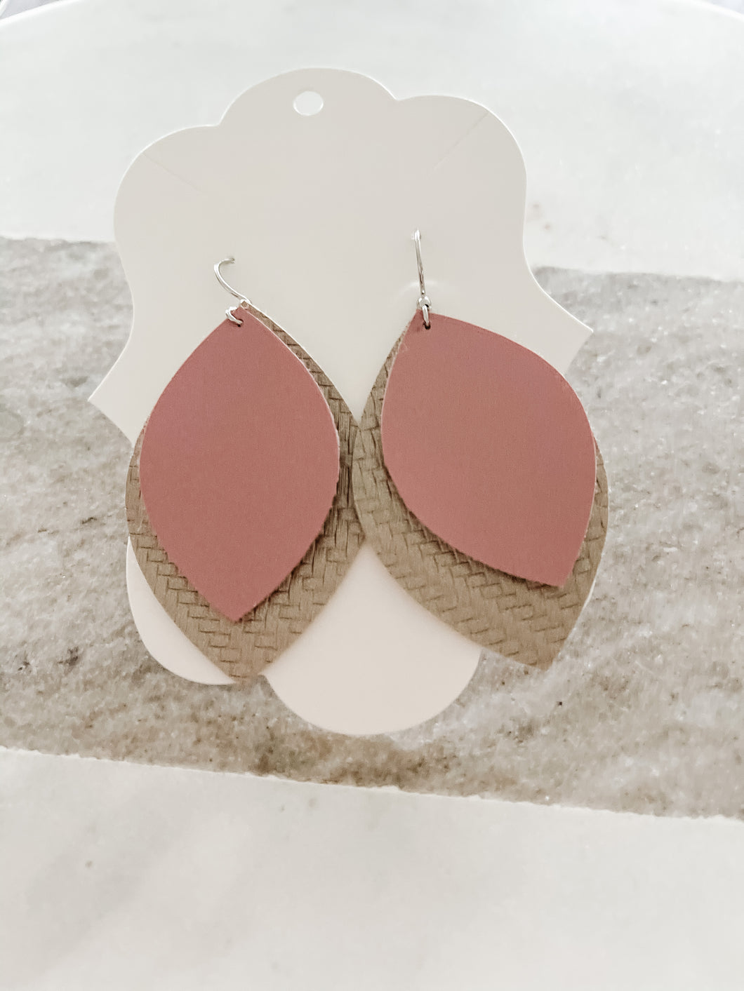 Pink & Mocha Faux Leather Earrings