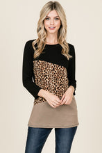 Load image into Gallery viewer, Animal Print 3/4 Sleeve Colour Block Top