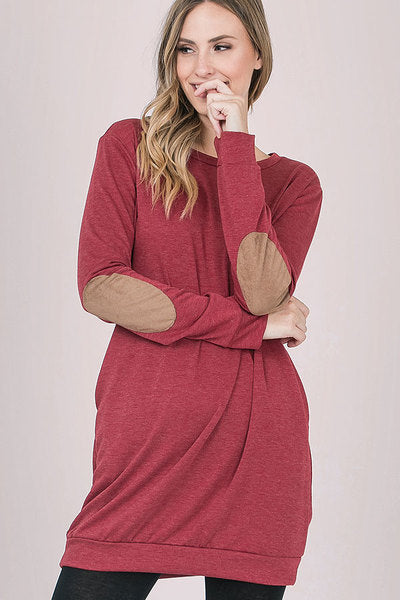 Elbow Packet Tunic with Pockets Two Tone Red