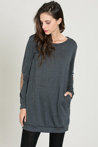 Elbow Patch Tunic with Pockets Charcoal