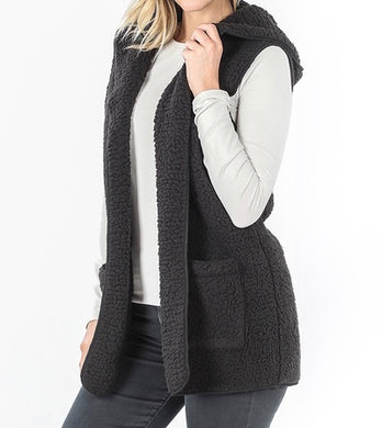 Sherpa Vest with Hood Black