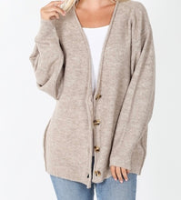 Load image into Gallery viewer, Button Down Cardigan Heather Mocha