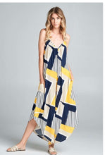 Load image into Gallery viewer, Navy and Yellow Jumpsuit