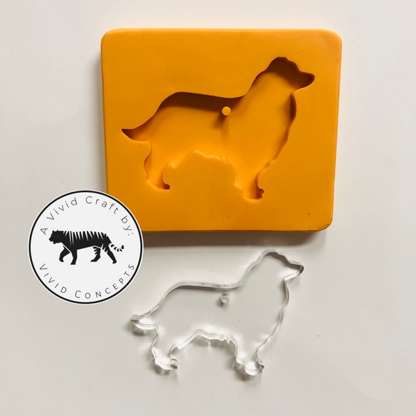Australian Shepard Aussie Dog with Fluffy Tail Silicone Mold