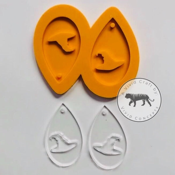 Witch Hat Droplet Earrings Silicone Mold