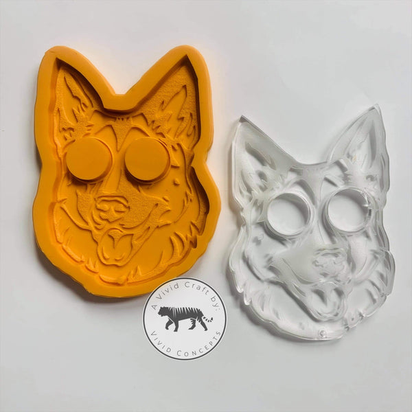 Pointy Eared German Shepard Face Silicone Mold
