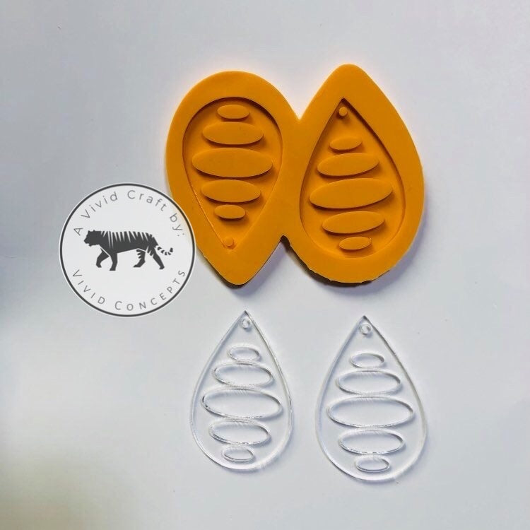 Oval Pattern Droplet Earrings Silicone Mold