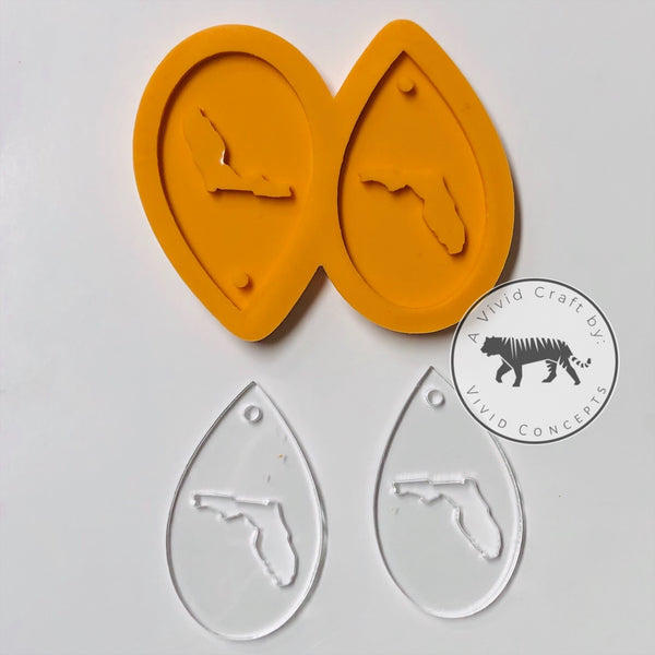 Florida Droplet Earrings Silicone Mold