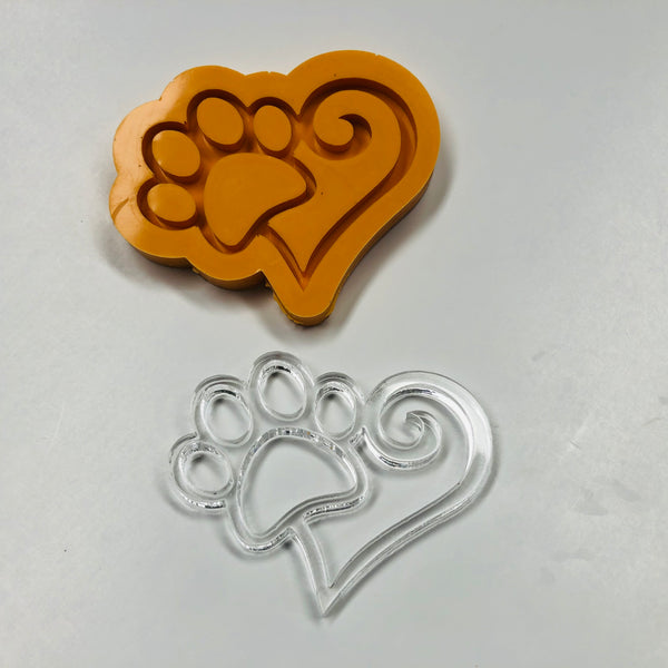 Paw Heart Outline Silicone Mold
