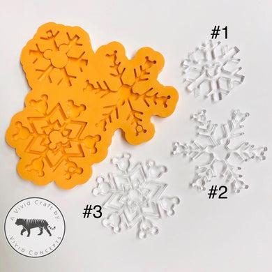 Snowflake with Mouse Silicone Mold