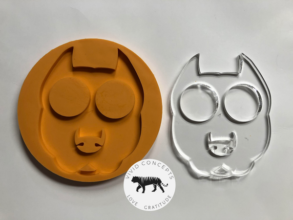 Pointy Eared Pitt Bull Face Silicone Mold