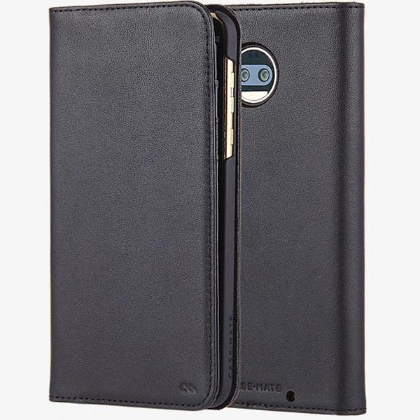 Case-Mate Leather Wallet Folio Case for Motorola Moto Z2 Force Edition - Black